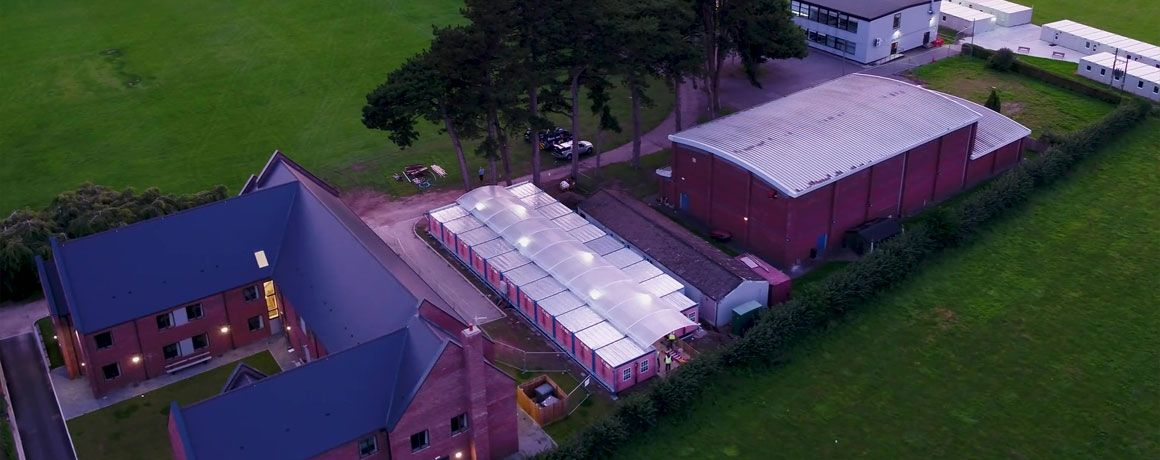 Aerial view of commercial buildings in North Wales